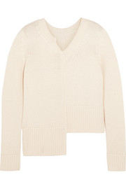 Adam Lippes Asymmetric ribbed merino wool and cashmere-blend sweater
