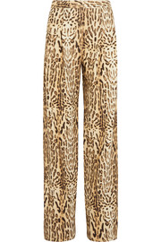 Adam Lippes Printed wool-twill wide-leg pants