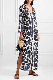 Tory Burch Embellished printed cotton-voile kaftan