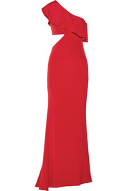 Cushnie et Ochs Bea one-shoulder cutout silk crepe de chine gown