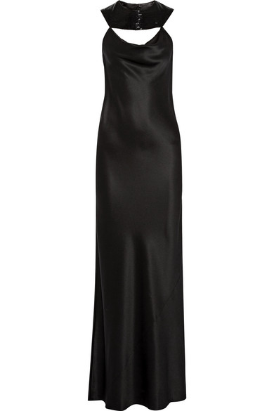 Lily bead-embellished silk-charmeuse gown
