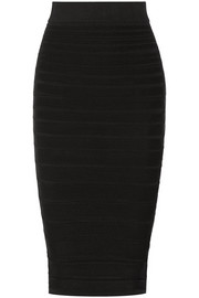 Ribbed stretch-knit skirt