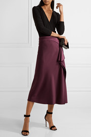 Draped silk-charmeuse midi skirt