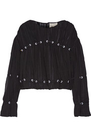 3.1 Phillip Lim Embellished pintucked silk-chiffon blouse