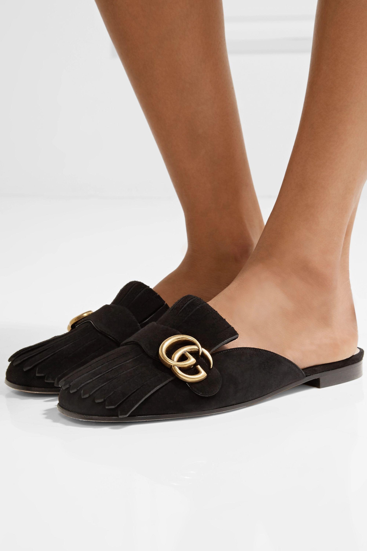 Black Marmont fringed logo-embellished