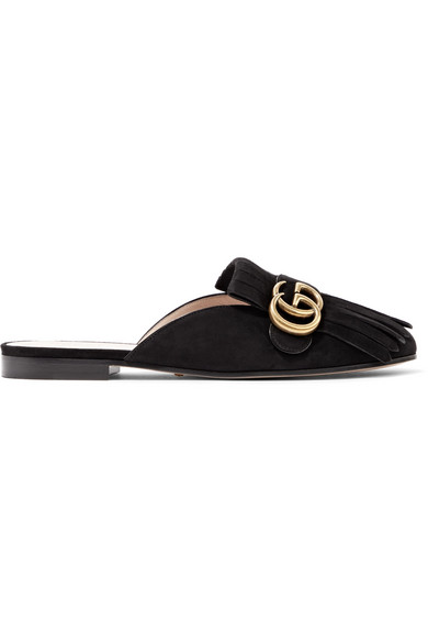 77931fd6d Gucci | Marmont fringed logo-embellished suede slippers | NET-A ...