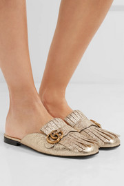 Marmont fringed logo-embellished metallic cracked-leather slippers