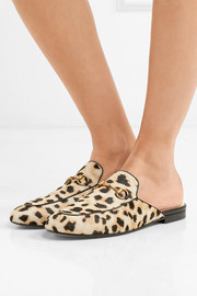 Gucci Princetown horsebit-detailed leopard-print calf hair slippers