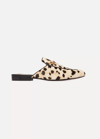 Princetown Horsebit-Detailed Leopard-Print Calf Hair Slippers, Beige Comb