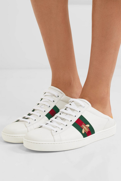 Gucci Bee sneakers Ace embroidered leather collapsible-heel sneakers