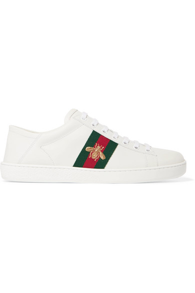 571d252f7969 Gucci. Ace embroidered leather collapsible-heel sneakers