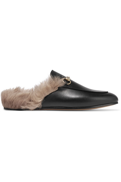 Princetown Horsebit-Detailed Shearling-Lined Leather Slippers in Black
