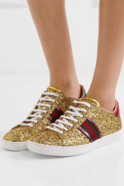 Ace metallic-trimmed glittered leather sneakers