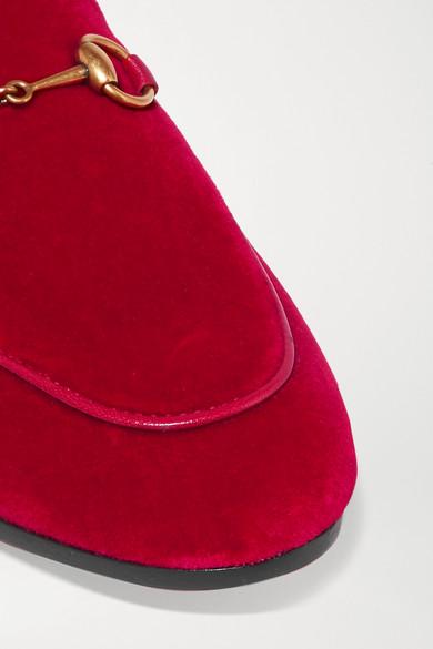 Rabatt-Spielraum Store Gucci Jordaan Loafers aus Samt mit Horsebit-Detail und Lederbesatz Freie Versandrabatte 3K2eO