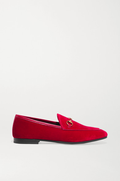 JORDAAN HORSEBIT-DETAILED LEATHER-TRIMMED VELVET LOAFERS