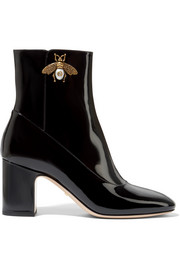 Gucci Embellished patent-leather ankle boots