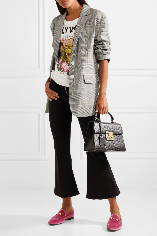 Gucci Jordaan horsebit-detailed leather-trimmed velvet loafers