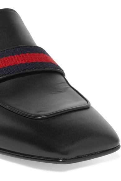 Gucci Marmont Loafers aus Leder mit einklappbarer Fersenpartie, Kunstperlen- und Logoverzierung