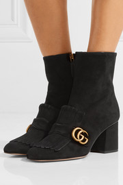 Gucci Marmont fringed suede ankle boots