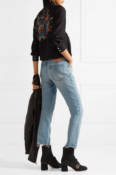 4800fb0de35 Gucci. Marmont fringed logo-embellished suede ankle boots