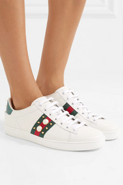 Ace metallic ayers-trimmed embellished leather sneakers