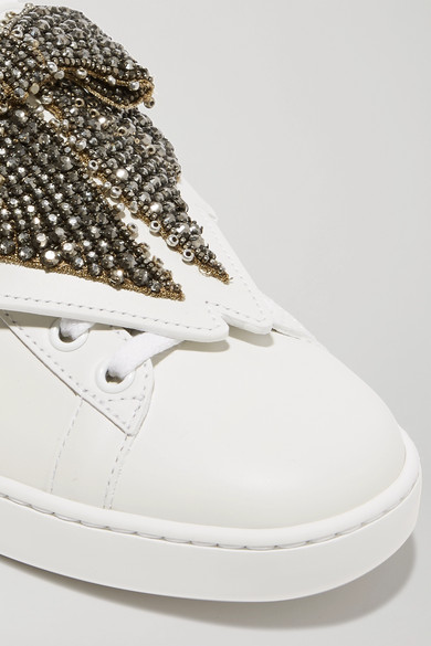 85580385830 Gucci. Ace crystal-embellished watersnake-trimmed leather sneakers.   1