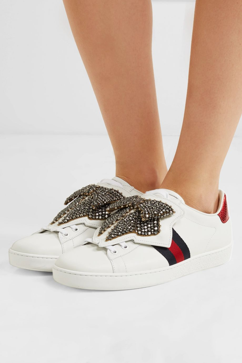 Gucci Ace crystal-embellished watersnake-trimmed leather sneakers