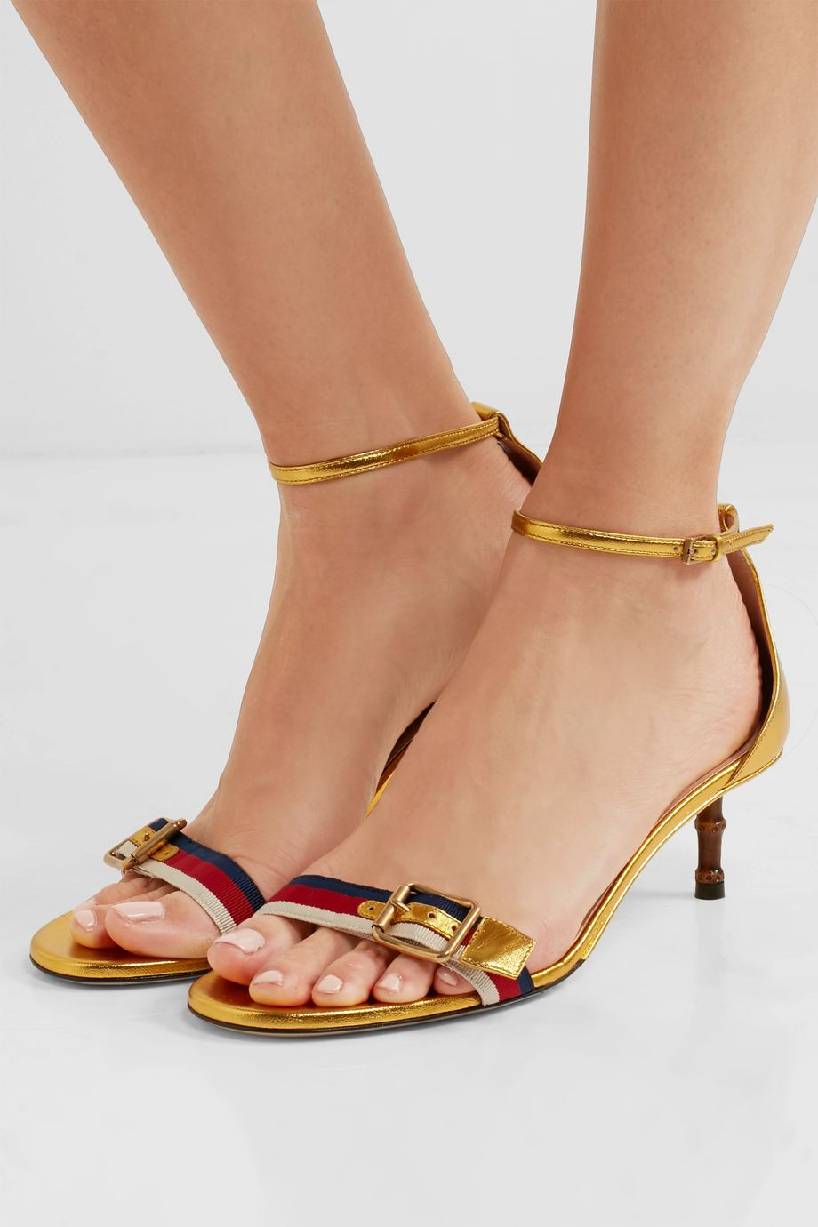 Gucci Sylvie grosgrain-trimmed metallic leather sandals