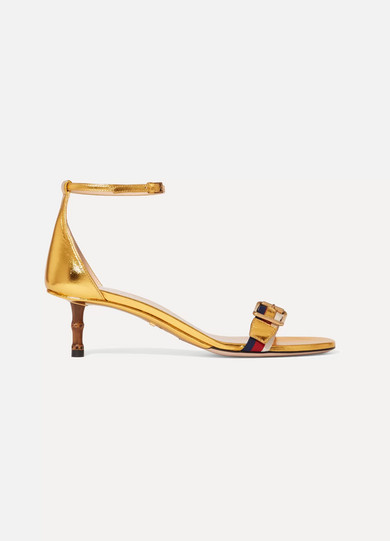 Gucci Leathers Sylvie grosgrain-trimmed metallic leather sandals