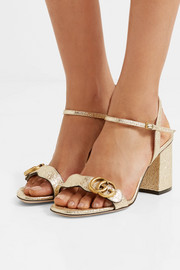 Gucci Marmont embellished cracked-leather sandals