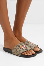 Gucci Printed coated-canvas slides