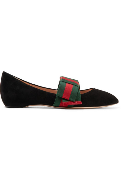 40c5c7f7d Gucci Bow-Embellished Suede Point-Toe Flats In Black | ModeSens