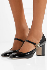 Embellished patent-leather Mary Jane pumps