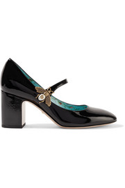 Gucci Embellished patent-leather Mary Jane pumps