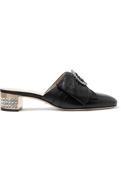 High Heel Shoes Candy Slippers With Bow Detail With Crystal And Mirrored Heel, Black