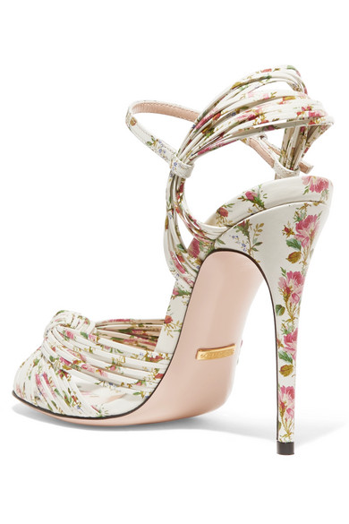 48cc9fb15 Gucci. Knotted floral-print leather sandals. €715. Zoom In
