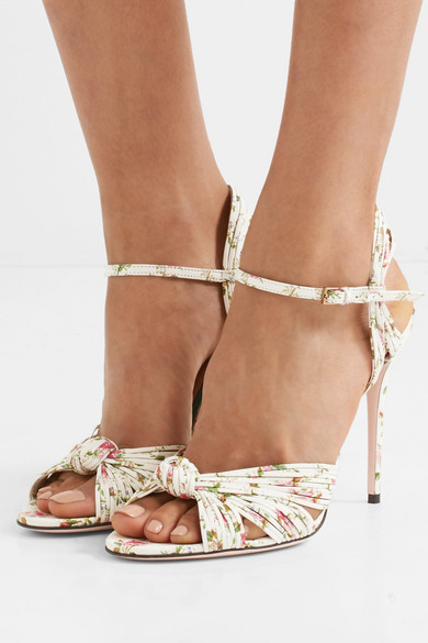 691ef5426c49 Gucci. Knotted floral-print leather sandals