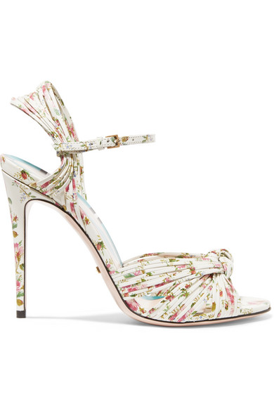 Leather Floral Print Sandals Knotted Leather Floral Knotted Sandals Print Print Knotted Floral Leather 6fb7Ygyv
