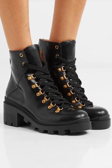 99a3104e2d3 Gucci | Grosgrain-trimmed leather ankle boots | NET-A-PORTER.COM