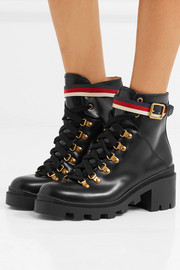Gucci Grosgrain-trimmed leather ankle boots