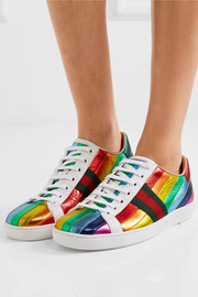 Ace striped metallic leather sneakers