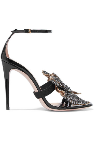 4565a7dac Gucci | Embellished patent-leather sandals | NET-A-PORTER.COM