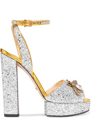 Gucci Embellished glittered leather platform sandals
