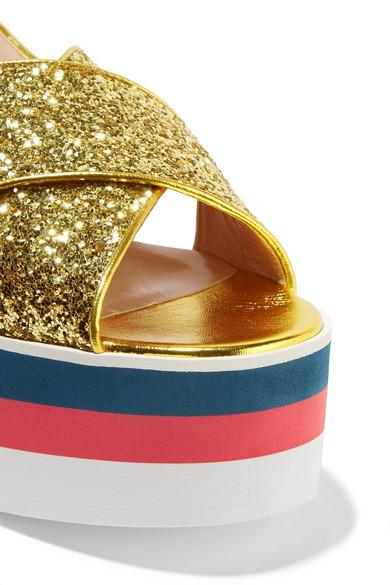 Mehrfarbig Gucci Plateausandalen aus Leder mit Glitter-Finish Billig Spielraum Niedriger Preis Rabatt Bester Großhandel Zu Verkaufen Sehr Billig 8PtiA0tHMf