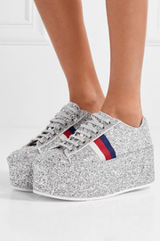 Glittered leather platform sneakers