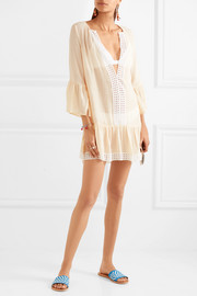 Eberjey Tessa broderie anglaise-trimmed crinkled gauze mini dress