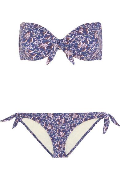 Eberjey - Lola Ursula Floral-print Bandeau Bikini - Blue