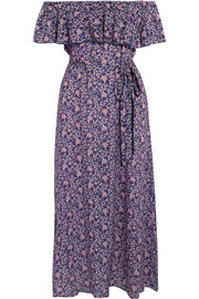 Eberjey Moon Flowers Florence off-the-shoulder voile midi dress