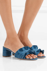 Vera ruffle-trimmed denim sandals