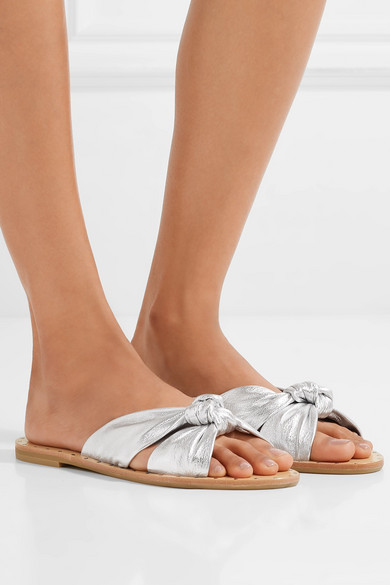 Loeffler Randall Lucia Studded Knot Metallic Leather Slide Sandals